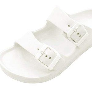 White Slide Double Buckle Sandals
